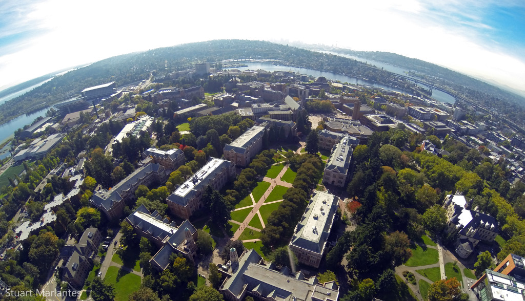 A shot of the UW campus facing downtown Seattle from my quadcopter.